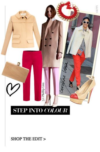 STEP IN TO COLOUR The coloured trouser goes major for autumn with hot shades played down with the new season's soft neutrals SHOP THE EDIT