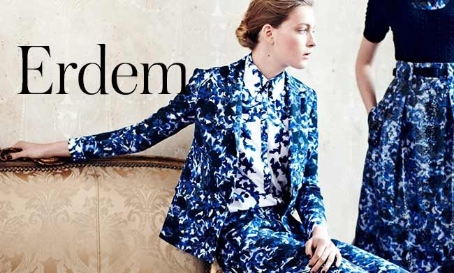 With its painterly blue and white prints – and a splash of blush pink – you'll love Erdem's new-season pieces
