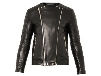 BALMAIN Classic leather biker jacket