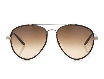 BOTTEGA VENETA Leather and metal aviator-style sunglasses