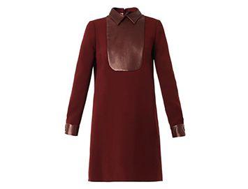 GUCCI Leather-bib cady dress