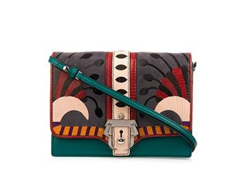 PAULA CADEMARTORI Tatiana leather and lizard shoulder bag