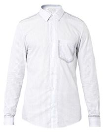 MAISON MARTIN MARGIELA Coated pinstripe cotton shirt