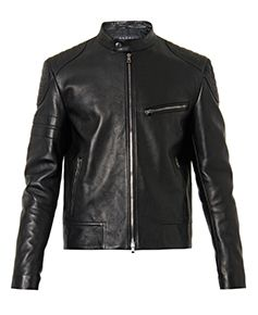 GUCCI Leather and wool jacket