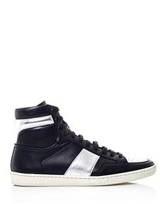 SAINT LAURENT SL/01H leather high-top trainers