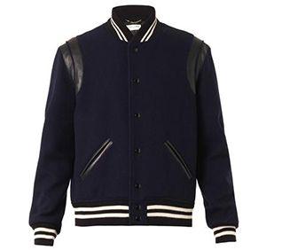 SAINT LAURENT Wool-twill and leather Varsity jacket