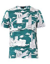 BURBERRY PRORSUM Landmark-print cotton T-shirt