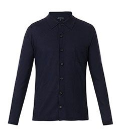 BURBERRY PRORSUM Point-collar cashmere-knit overshirt