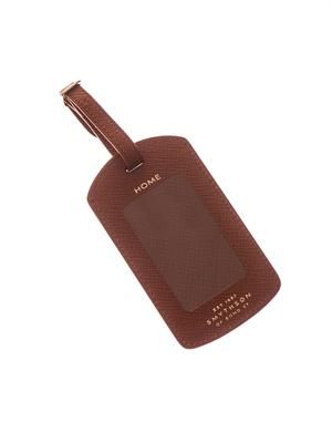 Panama leather luggage tag