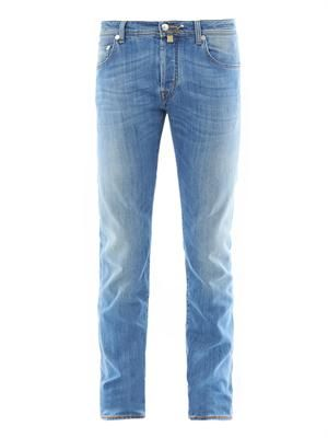 Slim-leg denim jeans