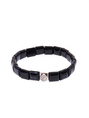 Diamond, onyx and white-gold bracelet