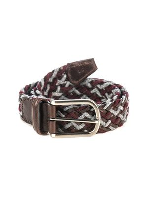 Woven wool and leather belt