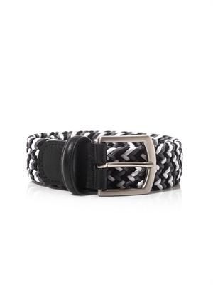 Leather-trimmed elasticated woven belt
