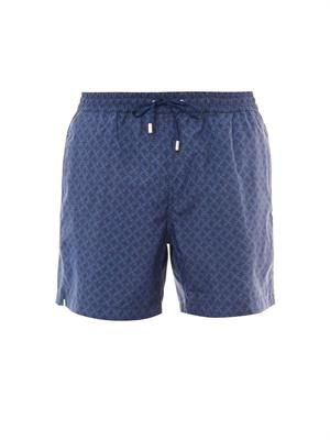 Diamond-print swim shorts