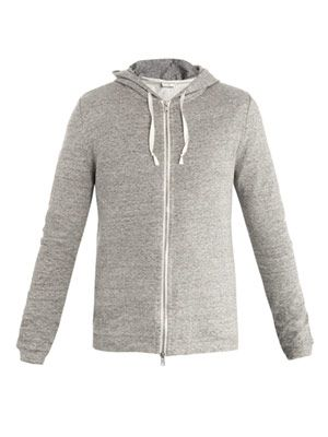 Slubbed zip-up hoodie top