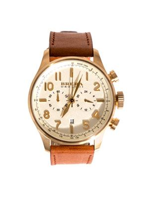 Classico yellow gold and leather watch