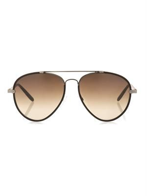 Leather and metal aviator-style sunglasses