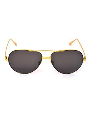 Gold-plated aviator sunglasses
