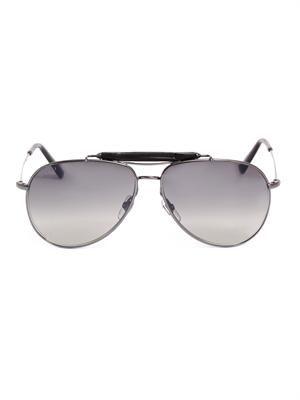 Bamboo aviator-style sunglasses