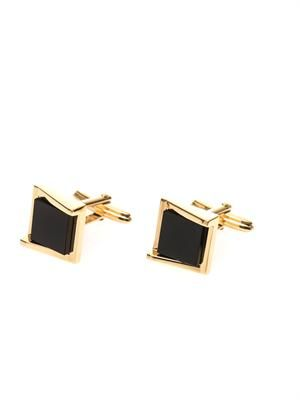 Onyx and gold-plated cufflinks