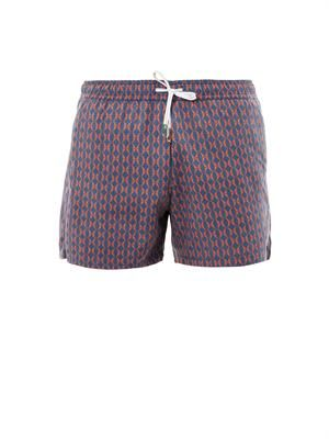 Shark's fin jacquard swim shorts