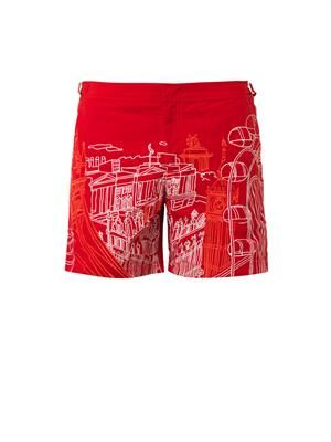 Bulldog London-print swim shorts