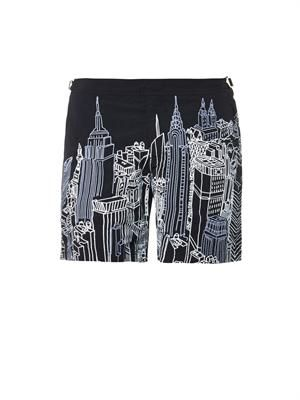 Bulldog New York-print swim shorts