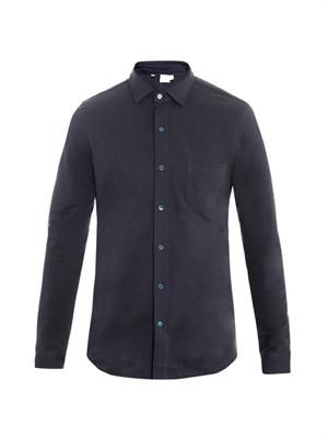 Long-sleeved cotton piqué shirt