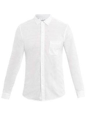 Long sleeve pique-cotton shirt