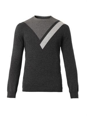 Geometric intarsia-knit cashmere sweater