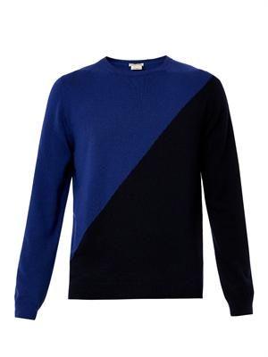 Diagonal-block cashmere sweater