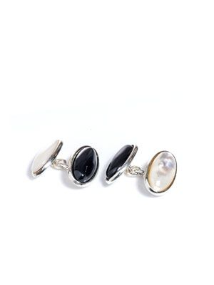 Mother of pearl and onyx cufflinks