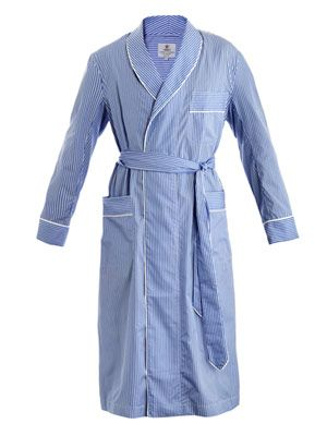 Striped bath robe