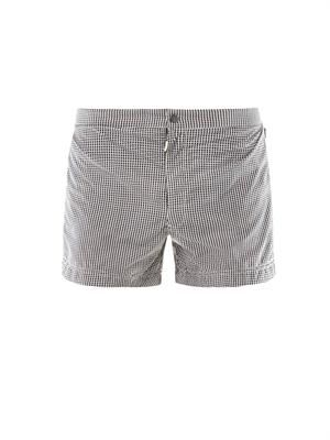 Grid-print swim shorts