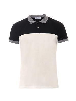 Bi-colour cotton polo shirt