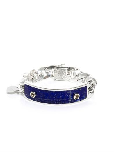 Ann Dexter-Jones Yellow sapphire, lapis and silver ID bracelet