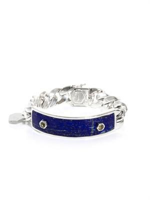 Yellow sapphire, lapis and silver ID bracelet