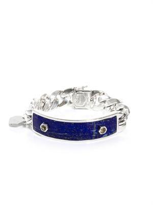 Sapphire, lapis & sterling silver ID bracelet