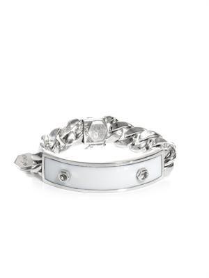White sapphire, white onyx & silver ID bracelet