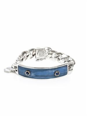 Blue sapphire, chalcedony and silver ID bracelet