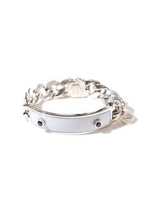 Diamond, onyx & silver ID bracelet