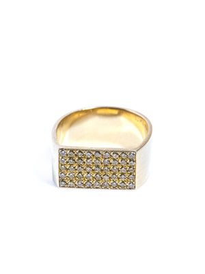 Diamond & beige gold flat plate pinky ring