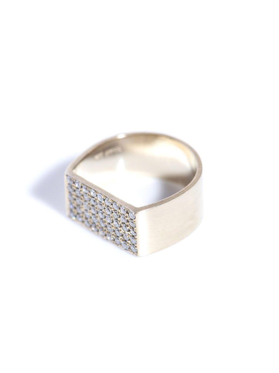 White diamond & gold pinky ring Dina Kamal DK01