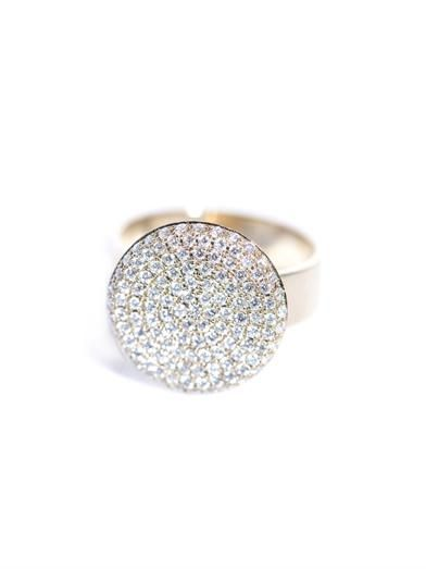 Dina Kamal Dk01 White diamond and beige gold flat coin ring