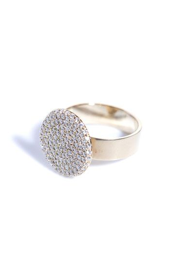 Dina Kamal Dk01 White-diamond & gold flat-coin ring