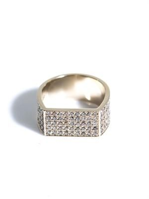 Brown diamond and gold flat-plate ring