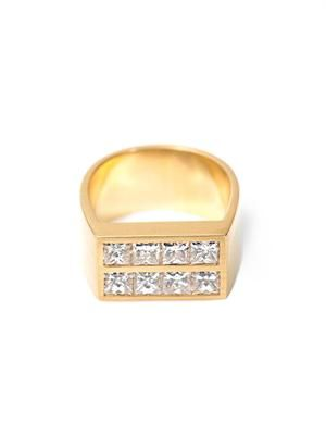 Diamond and gold flat plate pinky ring