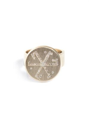Diamond and beige gold flat coin pinky ring