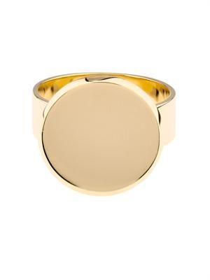 Yellow-gold flat-coin ring