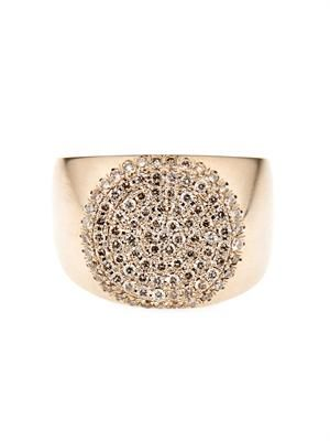 Diamond & beige-gold coin ring